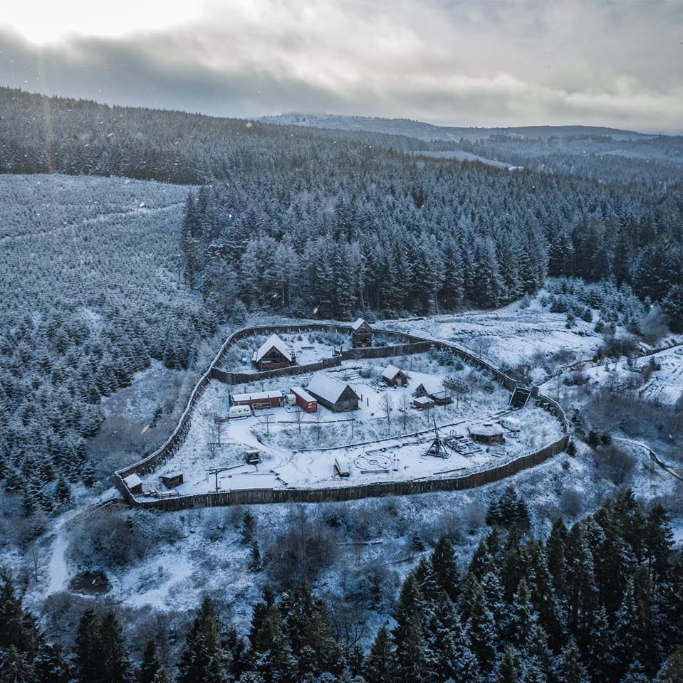 Aerial show of Duncarron village in the snow